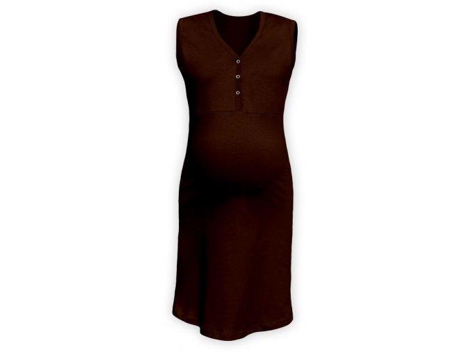 Těhotenská/kojící noční košile bez rukávů - hnědá, vel. S/M a M/L