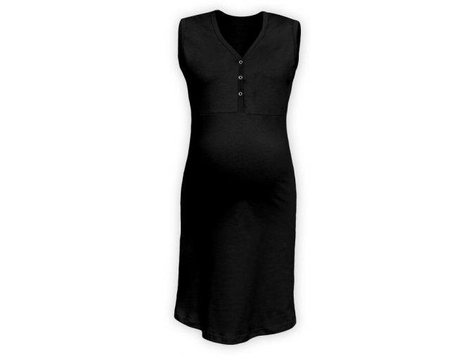 Těhotenská/kojící noční košile bez rukávů - černá
