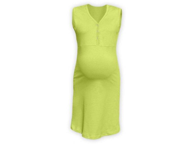 Těhotenská/kojící noční košile bez rukávů - sv. zelená