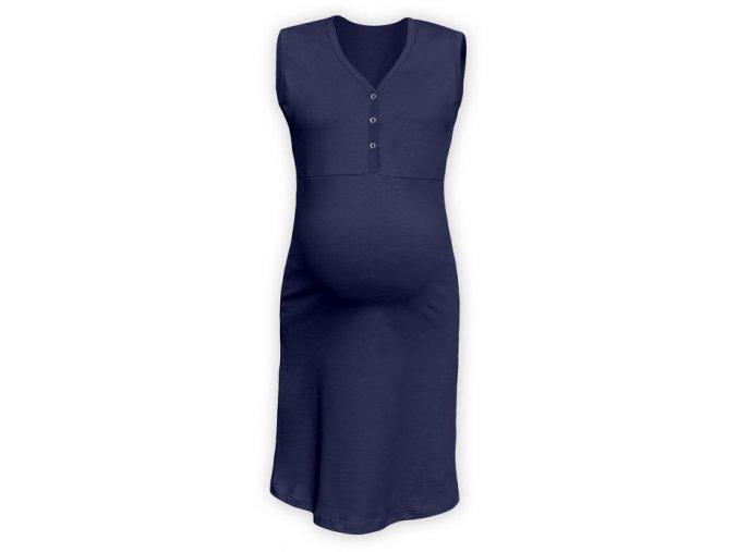 Těhotenská/kojící noční košile bez rukávů - Cecilie tm. modrá