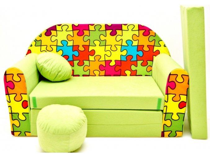 Rozkládací pohovka - Puzzle zelená