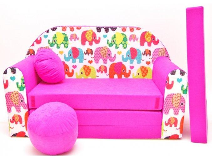Rozkládací pohovka - Veselí sloníci růžová
