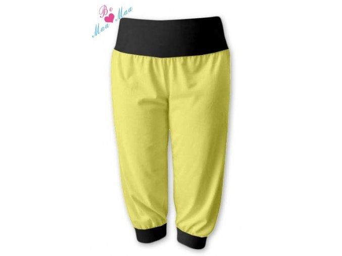 Sportovní 3/4 capri kalhoty žluté/černá, vel. L/XL