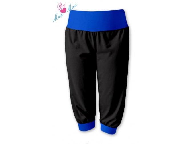 Sportovní 3/4 capri kalhoty černé/tm. modrá