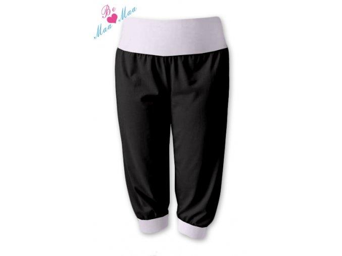 Sportovní 3/4 capri kalhoty černé/bílá