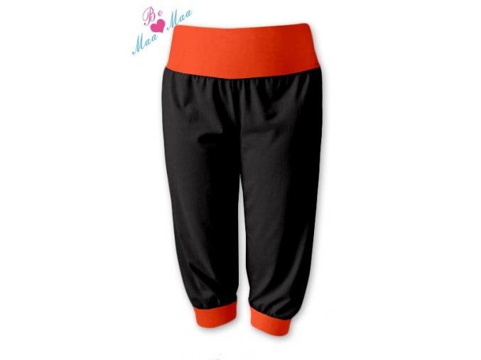 Sportovní 3/4 capri kalhoty černé/oranžová