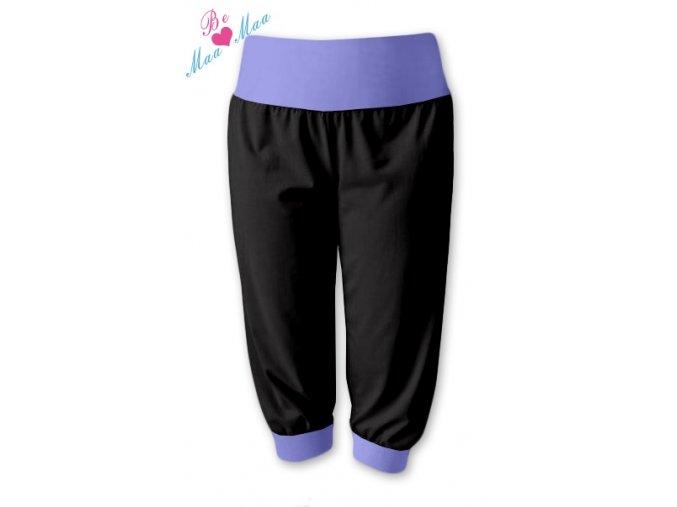 Sportovní 3/4 capri kalhoty černé/lila