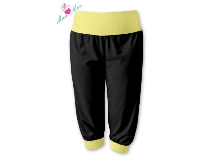 Sportovní 3/4 capri kalhoty černé/žlutá