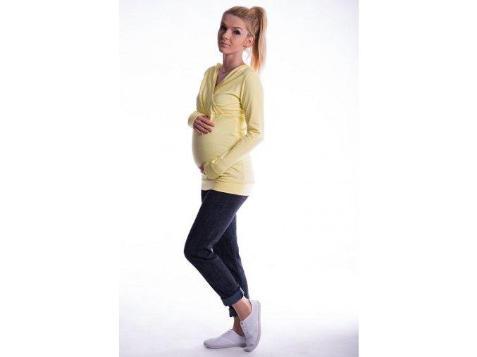 Těhotenské a kojící tričko s kapucí žluté