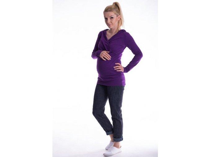 Těhotenské a kojící tričko s kapucí fialové