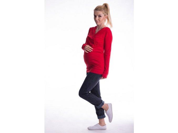 Těhotenské a kojící tričko s kapucí červené