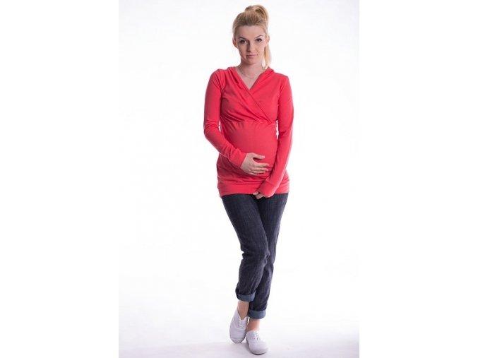 Těhotenské a kojící tričko s kapucí korálové