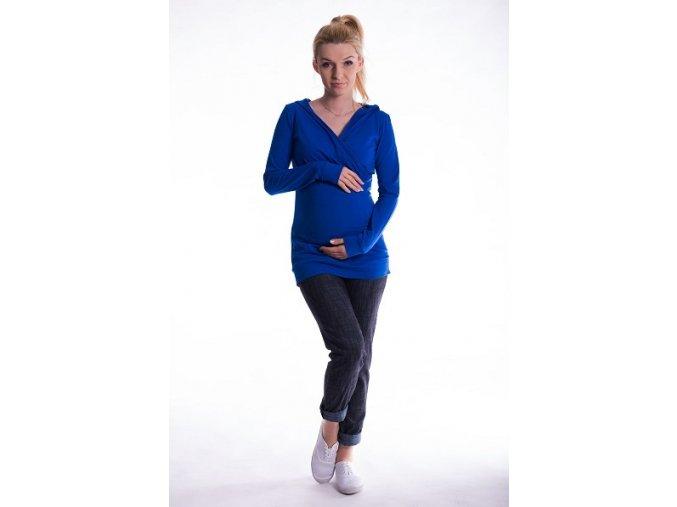 Těhotenské a kojící tričko s kapucí chaber