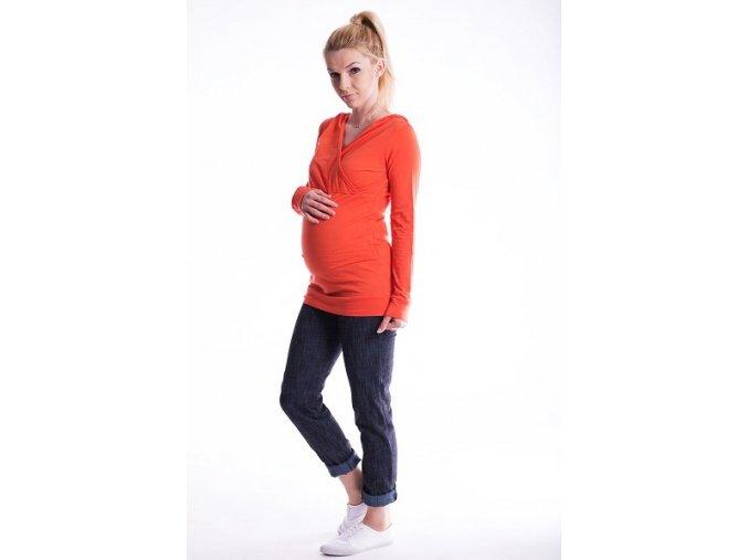 Těhotenské a kojící tričko s kapucí oranžové