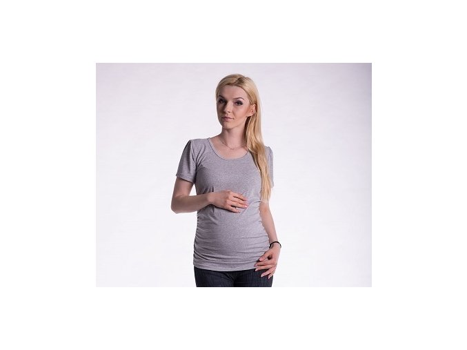 Těhotenské tričko - Joly šedý melír