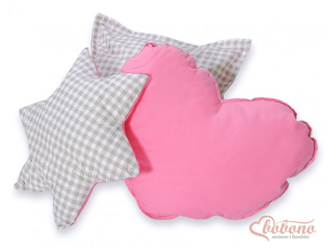 Set polštářků - Kostička šedá/růžová