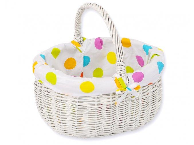 Proutěný košík Puntíky na bílé