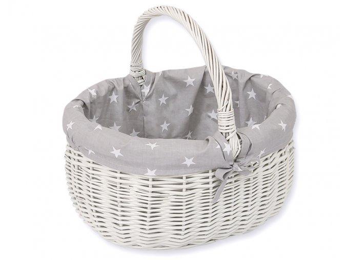 Proutěný košík Hvězdičky na šedé