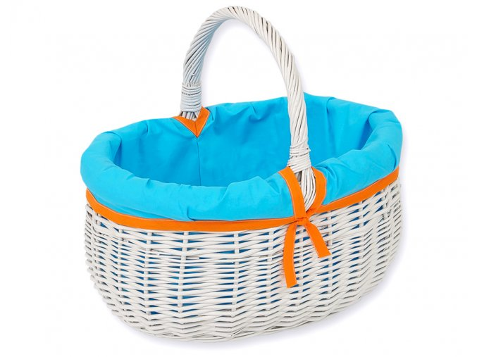 Proutěný košík Tyrkysová s oranžovou