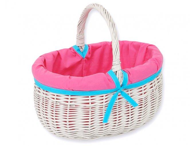 Proutěný košík Růžová s tyrkysovou
