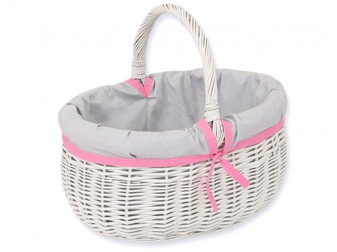 Proutěný košík Šedá s růžovou