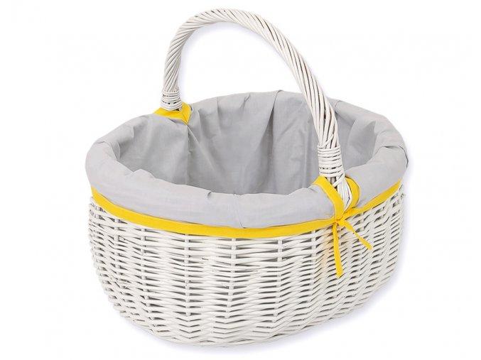 Proutěný košík Šedá se žlutou