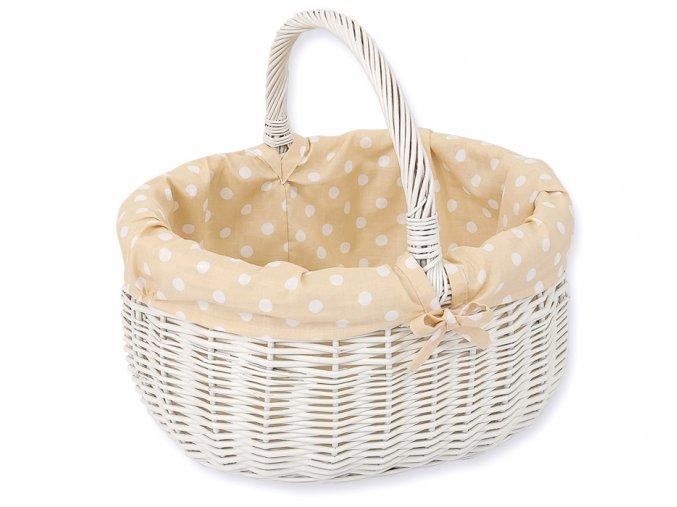 Proutěný košík Béžová s puntíčky