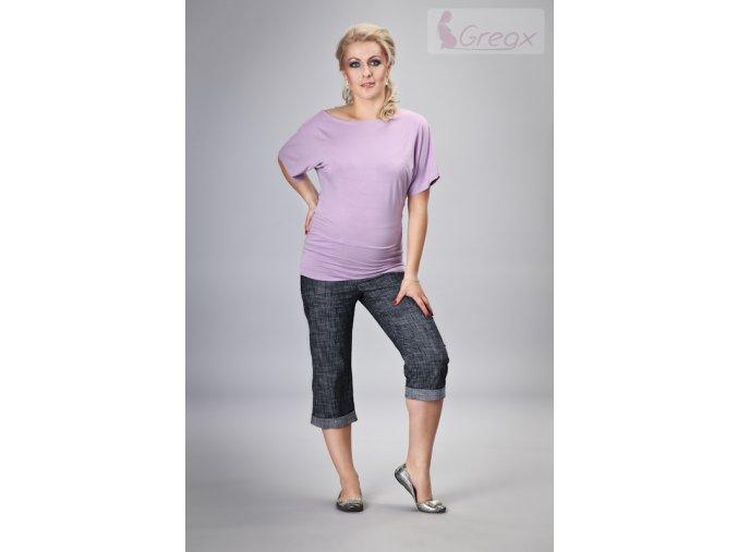 Těhotenské 3/4 kalhoty - Jeans granátový melír, vel. S, M a L