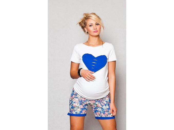 Těhotenské tričko/halenka s krátkým rukávem - Heart bílá