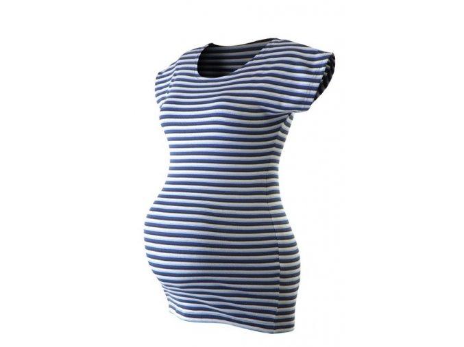 Těhotenské pruhované tričko - Kim modrá, vel. L/XL