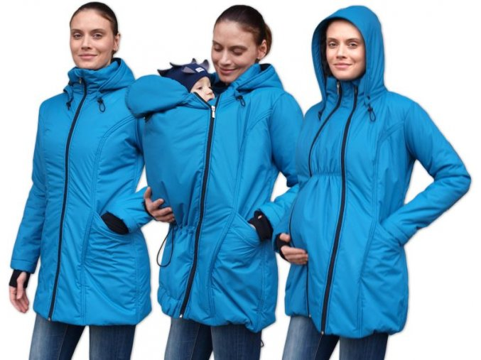 zora zimni vyteplena bunda pro tehotne a nosici zeny pro predni noseni petrolejova 2