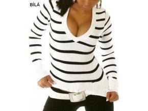 Klasický svetr s proužky bílý
