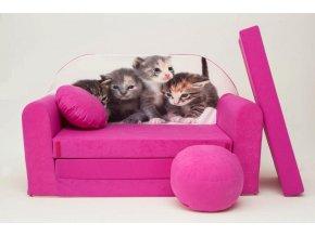 Rozkládací pohovka - Kočky růžová