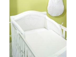 Povlečení s mantinelem - Srdíčka bílé, 120x90 cm