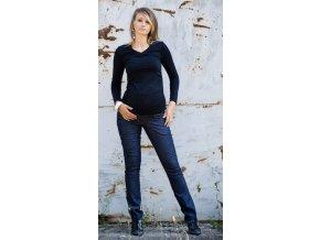 Těhotenské kalhoty Jeans granátové, vel. S, L, XL a XXXL