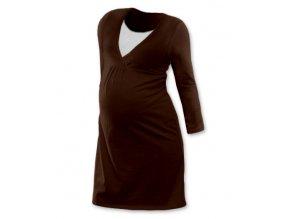 Těhotenská a kojící noční košile s dlouhým rukávem - Lucie hnědá