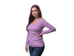 Kojící a těhotenské tričko s dlouhým rukávem - Kateřina levandulová