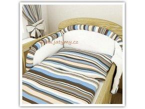Povlečení s mantinelem - Colors proužky cappuccino, 135x100 cm do postýlky 140x70 cm