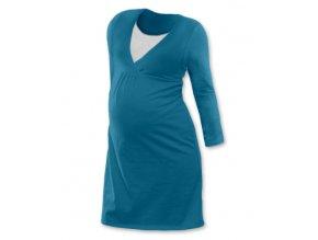 Těhotenská a kojící noční košile s dlouhým rukávem - petrolejová