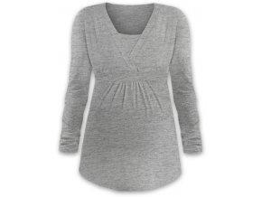 Kojící a těhotenská tunika s dlouhým rukávem - Anička šedý melír