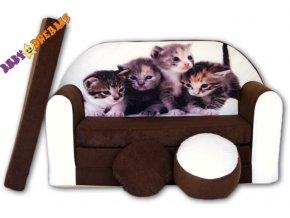 Rozkládací pohovka - Kočky hnědá