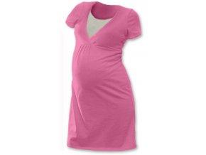 Těhotenská a kojící noční košile - růžová