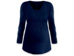 Kojící a těhotenská tunika s dlouhým rukávem - Anička tm. modrá