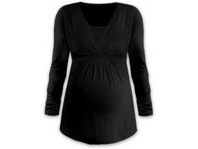 Kojící a těhotenská tunika s dlouhým rukávem - Anička černá