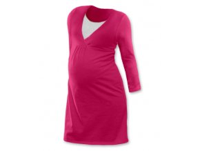Těhotenská a kojící noční košile s dlouhým rukávem - tm. růžová