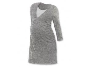 Těhotenská a kojící noční košile s dlouhým rukávem - šedý melír