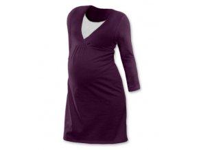 Těhotenská a kojící noční košile s dlouhým rukávem - švestková
