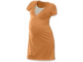 Těhotenská a kojící noční košile - sv. oranžová