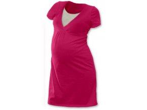 Těhotenská a kojící noční košile - tm. růžová