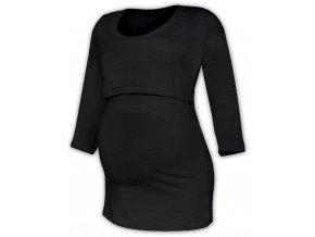 Kojící a těhotenské tričko se 3/4 rukávem - Zoe černá